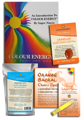 Orange chakra spa kit with dead sea salt, carnelian, essential oil sampler.