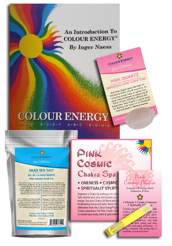 Pink chakra spa kit with dead sea salt, pink quartz, and essential oil sampler.