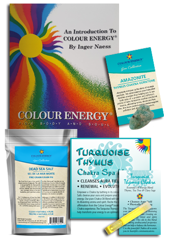 Turquoise chakra spa kit with dead sea salt, amazonite, and essential oil sampler.