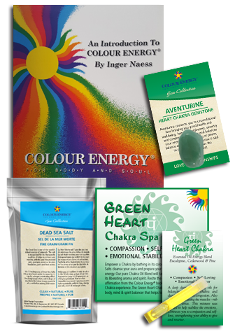 Green chakra spa kit with dead sea salts, green aventurine, and essential oil sampler.