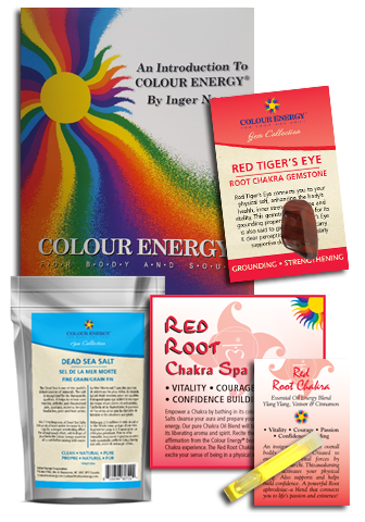 Red chakra spa kit with dead sea salt, red tiger's eye, and essential oil sampler.