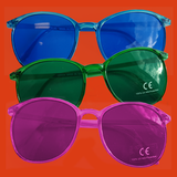 Blue, green or pink eyewear glasses.