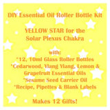 DIY Essential Oil Roller Bottle Kit Yellow Star for the solar plexus chakra.