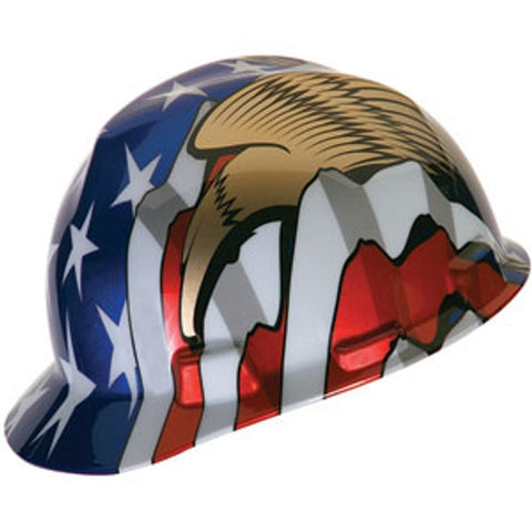 MSA American Flag w/ 2 Eagles V-Gard Hard Hat