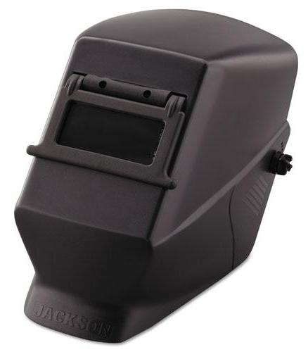 "Jackson Safety Part #14972      Lightweight thermoplastic welding helmet provides premium-level safety at an economical price.     Expanded front provides full face and neck protection from sparks, heat and fumes.     Convenient 2"" x 4 1/4"" lift-front window, includes shade 10 polycarbonate filter plate and cover plate."