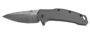 Kershaw Link Gray Aluminum Blackwash Drop-Point Knife with SpeedSafe Assisted Opening #1776GRYBW