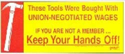 Keep Your Hands Off! w/Hammer Toolbox Decal
