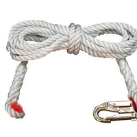 "#24750 - 50' Long wearing nylon rope with excellent abrasion resistance, supple and easy to handle.      5/8"" x 50'     Nylon Rope.     Connectors: Zsnap hookhook, thimble eye."
