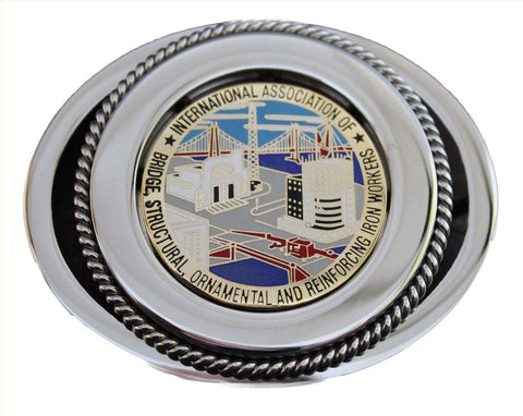 Union Ironworker Belt Buckle In Color