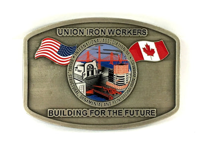 'Union Ironworkers Building for the Future' Pewter Belt Buckle