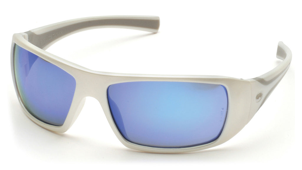 """Goliath"" Ice Blue Mirror Safety Glasses with White Frame"