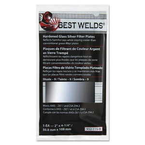"Best Welds Part #932-115      Reflects harmful rays while staying cooler than conventional green filter plates. It also reduces glare.     Fits any conventional passive welding helmets that accept  2"" x 4.25"" plates."