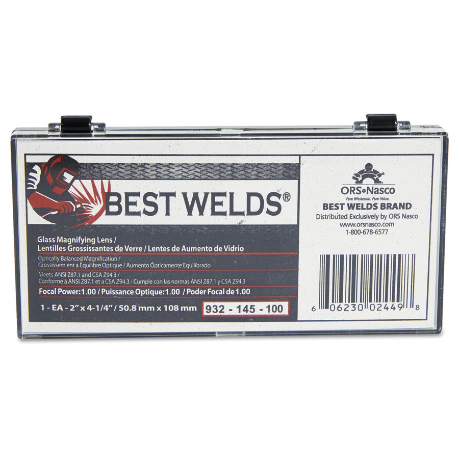 Best Welds Part # 932-145      For eyesight improvement during any job, use the Anchor Brand Glass Magnifier Lens ensures greater visibility.     Ground glass material provides exceptional strength and durability.     Magnifiers offer optically balanced magnification in .25 increments.