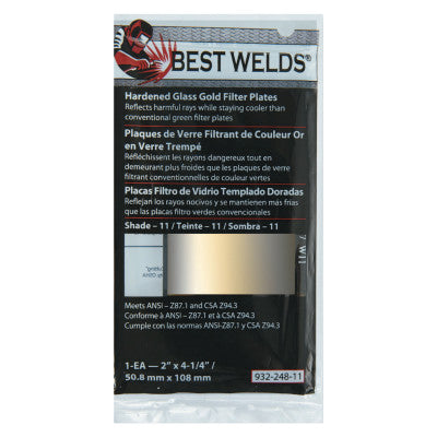 "Best Welds Hardened Glass GOLD Filter Plates  2"" x 4.25"""