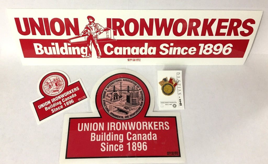 Ironworkers Building Canada Sticker and Lapel Pin Gift Set