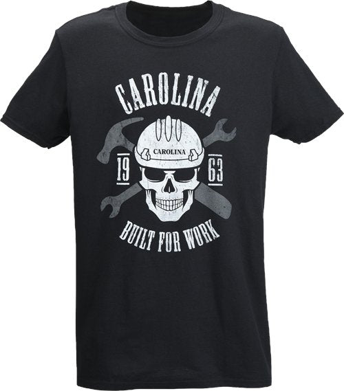Carolina Skull Built for Work Black T-Shirt #AC201