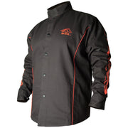Black Stallion BX9C BSX® Contoured FR Cotton Welding Jacket, Black with Red Flames