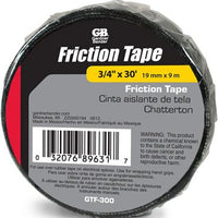 Gardner Bender Part #GTF-300  Black tape with Matte finish Use over electrical Splices, wrapping grips or sporting goods Matted finish provides the best gripping surface available 30 ft. Long per roll