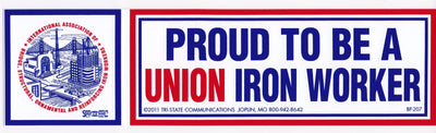 'Proud to be Union Ironworker' Bumper Sticker #BP-207