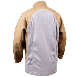 Stretch-Back FR Cotton Welding Jacket, Tan with Gray Stretch Panel
