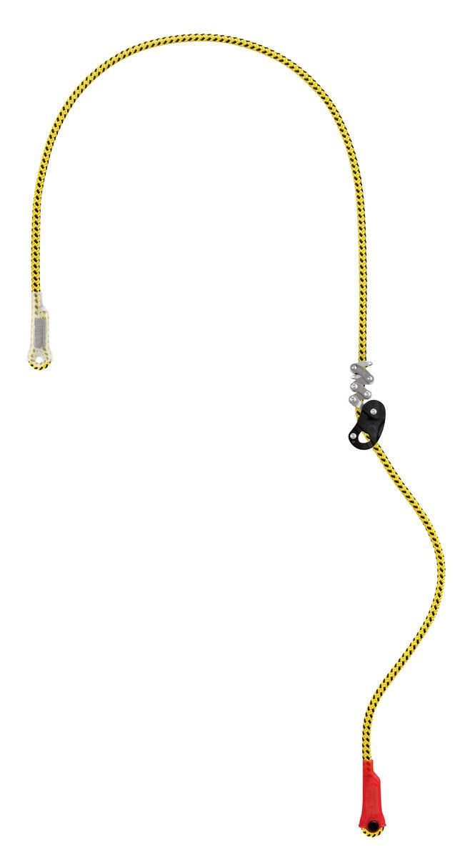 Adjustable work positioning lanyard for tree care.     The ZILLON work positioning lanyard for tree care adjusts easily with only one hand, even when loaded.     It is designed for use in double mode on the harness side attachment points, or in single mode on the ventral attachment point with the hand on the free end.     Yellow color for excellent visibility.