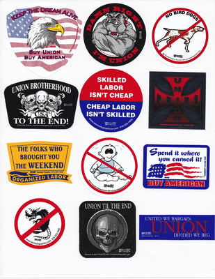 Buy American It Makes Cents Cent$ Organized Labor Union Hard Hat Sticker Decal