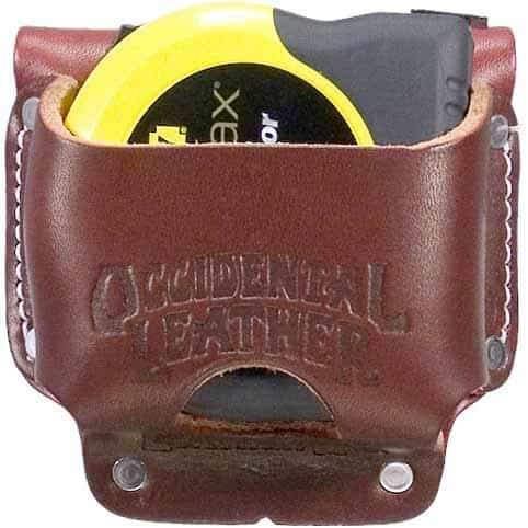 "Features Quality leather high mount tape pocket holds up to a 35' tape or the FatMax®. Accepts up to 3"" work belt""  Made in USA!"