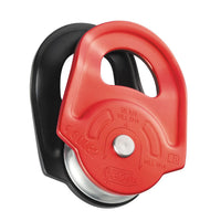 Petzl Part #P50A High-strength pulley with swinging side plates. The RESCUE pulley is very strong and efficient: ideal for rescue, hauling heavy loads and intensive use. Designed to maneuver heavy loads or for intensive use. Large diameter sheave mounted on sealed ball bearings for excellent efficiency. Accepts up to three carabiners to facilitate use. Material(s): aluminum side plates, aluminum sheave. Certification(s): CE EN 12278, UIAA.