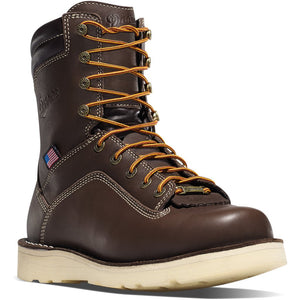 "Danner Quarry USA 8"" Brown Wedge Sole Boots"