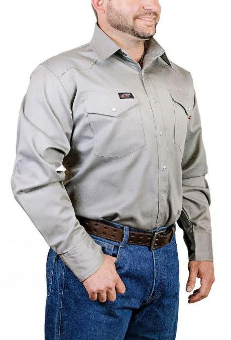 Forge FR Snap Front Grey Work Shirt