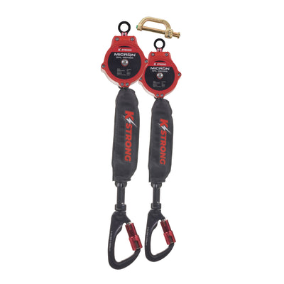 KStrong® Dual 6 ft. Micron™ SRL assembly with aluminum carabiners (ANSI). Includes connector to attach to harness.
