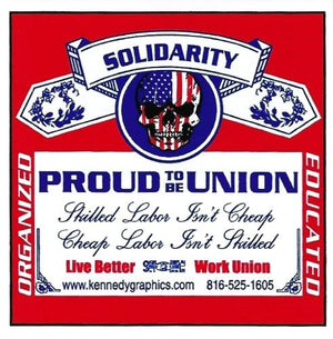 """Solidarity, Proud to be Union"" Hard Hat Sticker #S113"