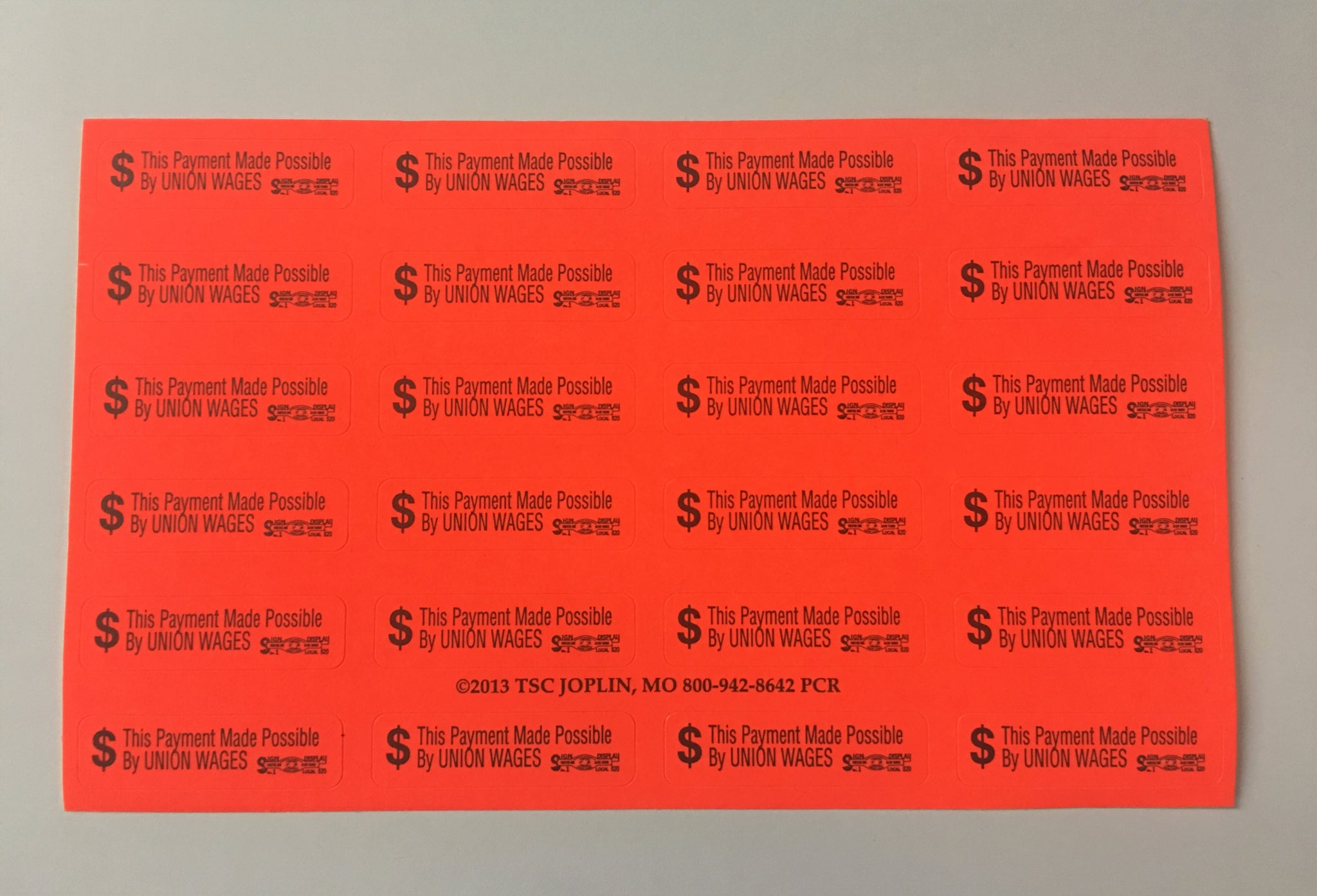 'This Payment Made Possible By UNION WAGES' Envelope Stickers - 3 Pack