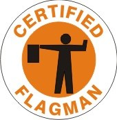 CERTIFIED FLAGMAN WITH HARD HAT MARKER