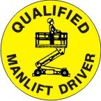 QUALIFIED MANLIFT DRIVER Hard Hat Sticker
