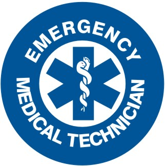EMERGENCY MEDICAL TECHNICIAN WITH BC/BS SYMBOL HARD HAT MARKER