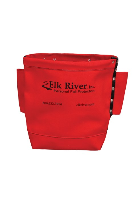 "Elk River Bolt Bag In Red With Tool Tunnel Loop 84520      Heavy red cotton duck bolt bag     Belt tunnel loop, 2 side tool slots     Rivet reinforced seams, Reinforced bottom      Red Canvas Bolt Bag     2.5"" x 10"" x 9""deep     Belt tunnel  Made in the USA!"