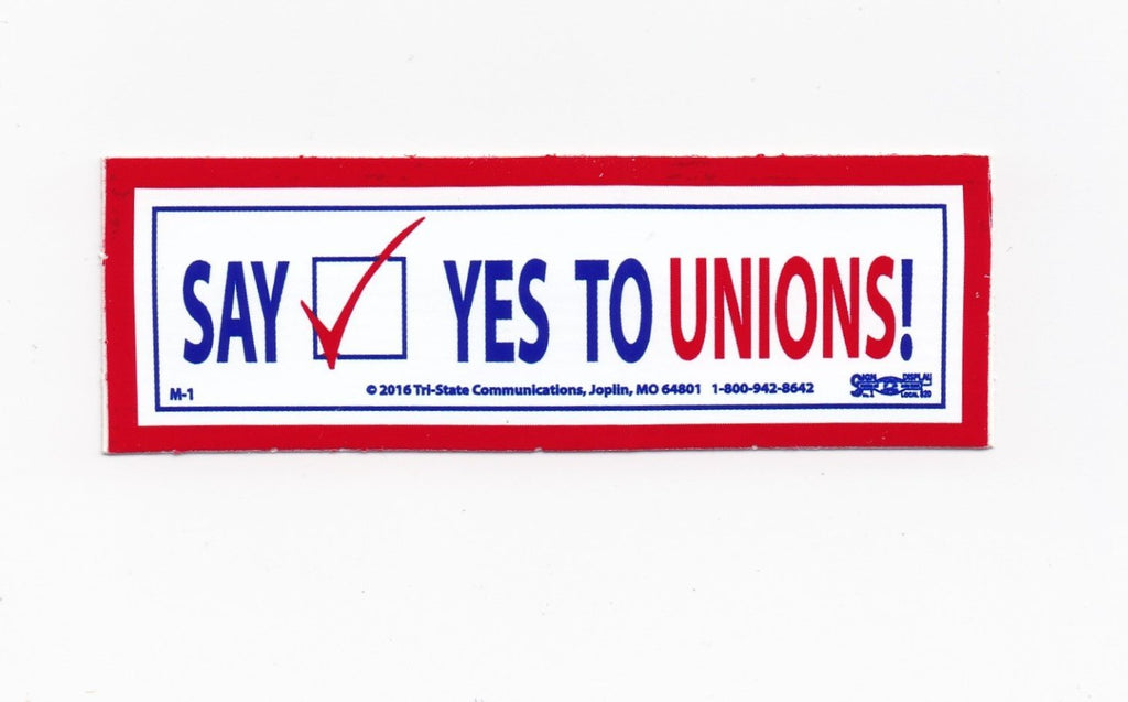 'Say Yes to Unions' Hard Hat Sticker #M1
