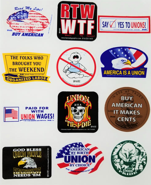 "Union Hard Hat Sticker Mix 40 - ""The Mega 40"""