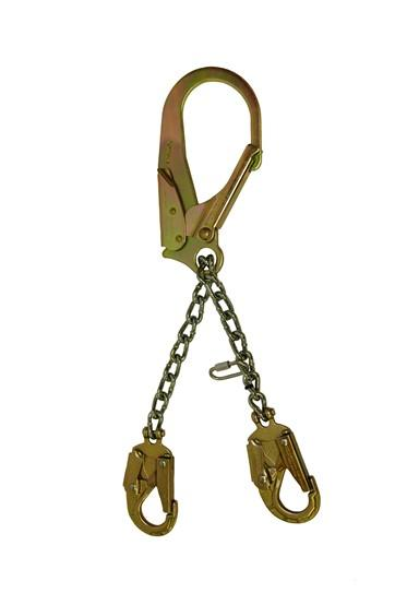 Elk River Part #:  #13420 - 3.6M Gate.  Chain. Legs: Two. Connectors: Zrebar Hook, Zsnap hookhooks on each leg. Adjuster. #13425 - Swivel Hook - 3.6M Gate.  Chain. Legs: Two. Connectors: Swivel Zrebar Hook, Zsnap hookhooks on each leg Adjuster, Swivel. Man-rated to 310 lbs total weight.