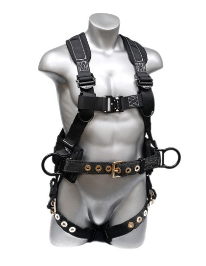 3 D-Rings Aluminum QC buckle on Chest Tongue buckle on leg straps Breathable padding Shoulder strap adjusters X-Large