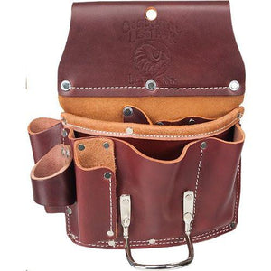 "Occidental Leather Part #5070      Large style, all leather pouch.     Suitable for both lathers and drywall pros.     Exceptional tool organization and durability.     Holders for circle cutter, metal snips, saw, knife, Surform®, pencils.     Pockets & Tool Holders: 11     Weight: 1.4 lbs.     Main Bag: 8"" x 6""     Tool Bags hold the tools and fasteners most often accessed with the right hand and are worn on the right side of the body.     Made in USA."