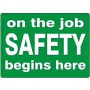 on the job SAFETY begins here Hard Hat Sticker