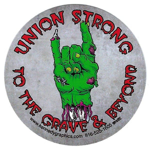 """Union Strong Zombie"" Hard Hat Sticker #S111"