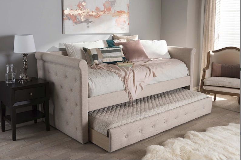 Beds - Light Beige Daybed & Trundle