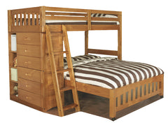 Beds - Loft Bed Twin Over Full With Five Drawer Chest - Honey Or Merlot
