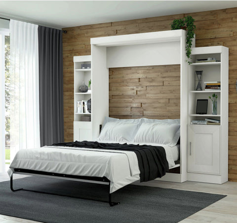 Beds - Murphy Wall Bed With Two Storage Units, White - Full Or Queen