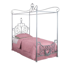 Beds - Princess Style Wrought Iron Metal Canopy Bed -Twin Size