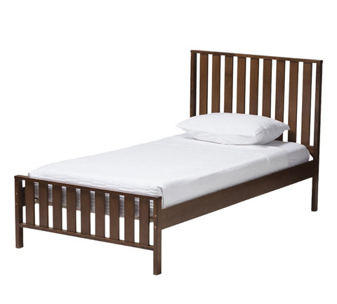 Beds - Walnut Brown Twin Wood Platform Bed & Trundle