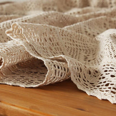 Lace Woven Rectangle Table Cover,100% Cotton  - 2 Sizes in White or Ecru